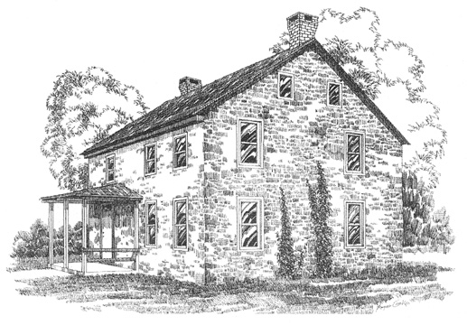 drawing of the nicholas stoltzfus house